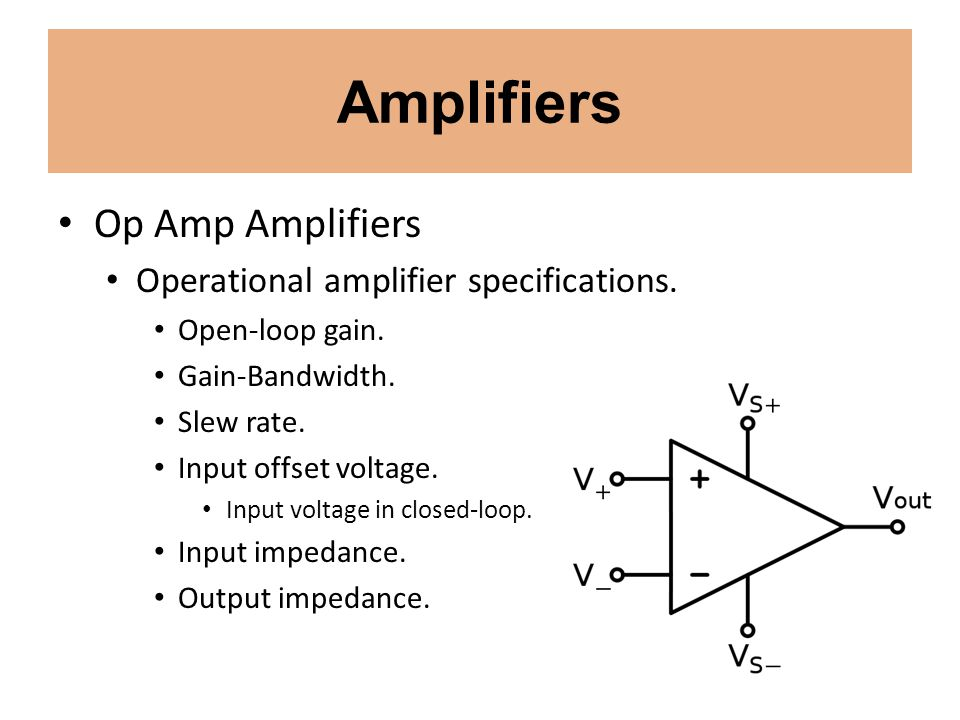 Amplifiers Op Amp Amplifiers Operational amplifier specifications.