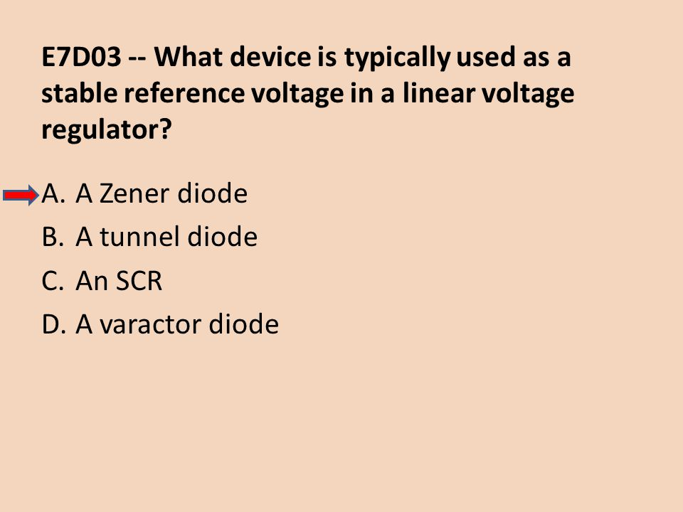 E7D03 -- What device is typically used as a stable reference voltage in a linear voltage regulator