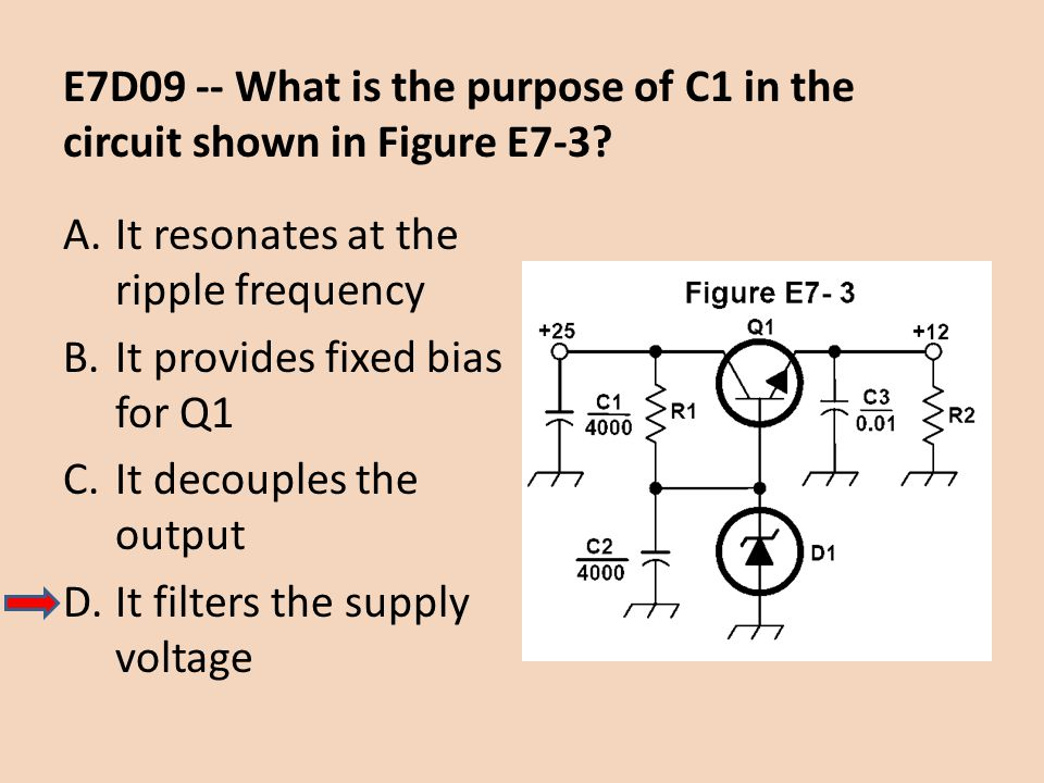 E7D09 -- What is the purpose of C1 in the circuit shown in Figure E7-3