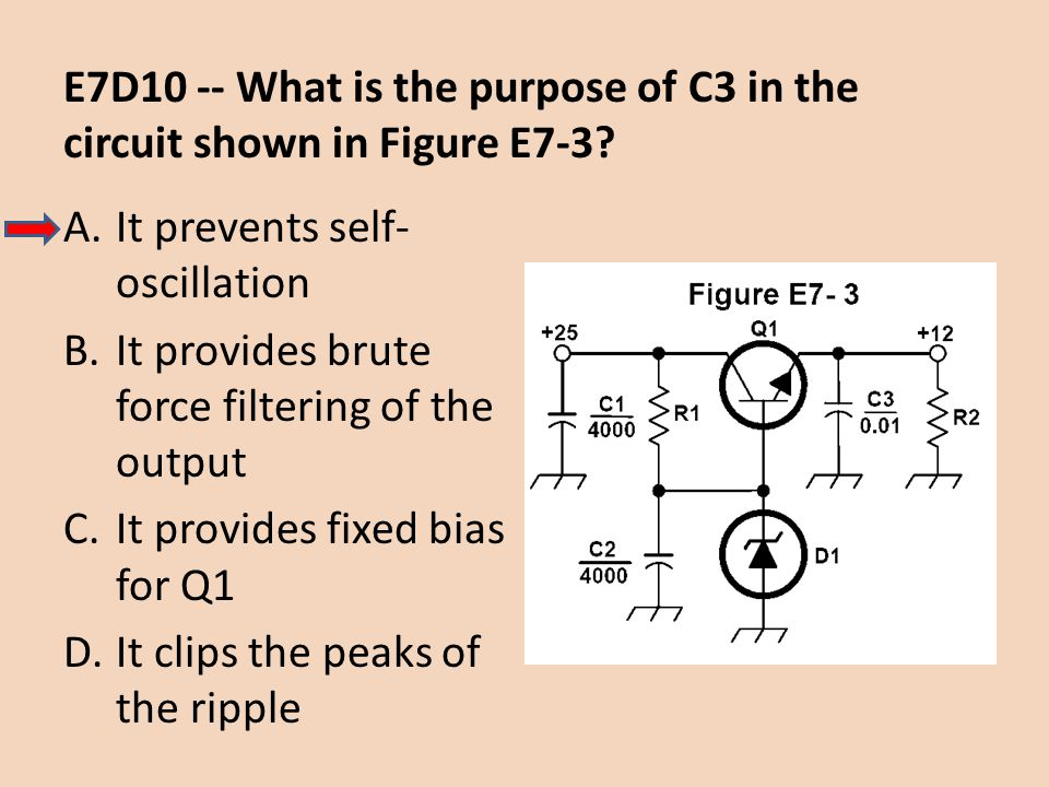 E7D10 -- What is the purpose of C3 in the circuit shown in Figure E7-3