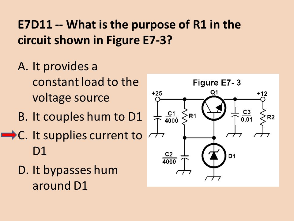 E7D11 -- What is the purpose of R1 in the circuit shown in Figure E7-3