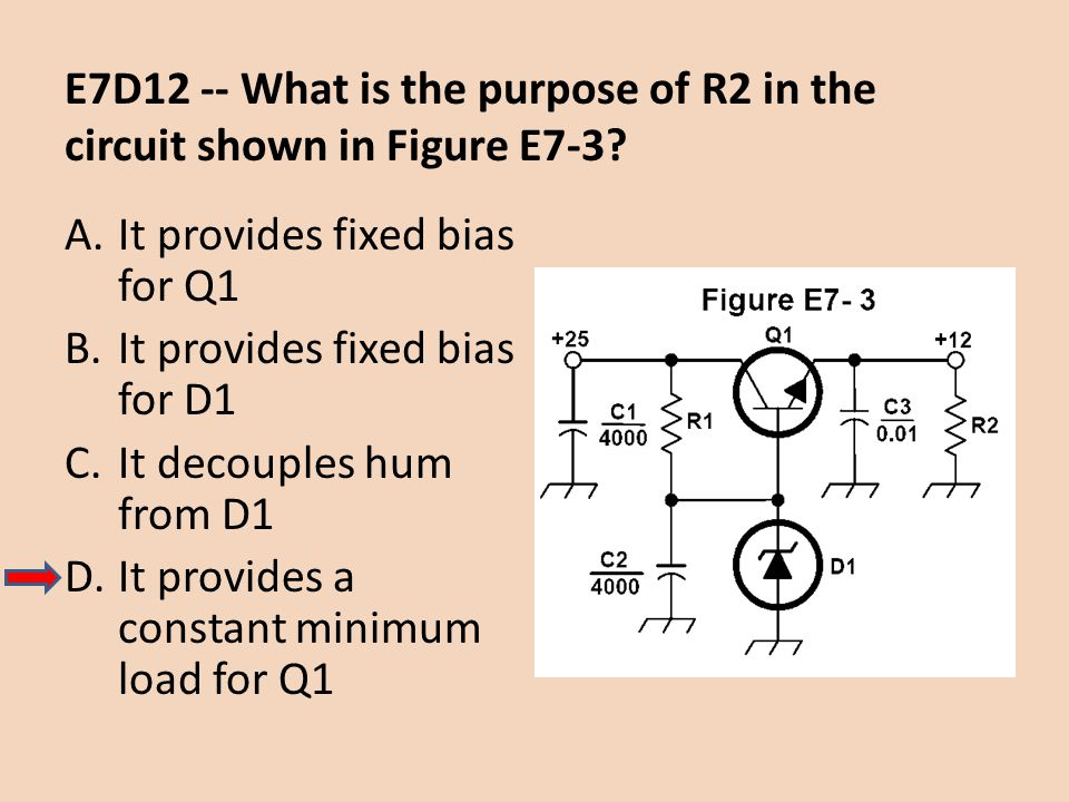 E7D12 -- What is the purpose of R2 in the circuit shown in Figure E7-3