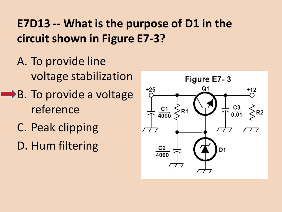 E7D13 -- What is the purpose of D1 in the circuit shown in Figure E7-3