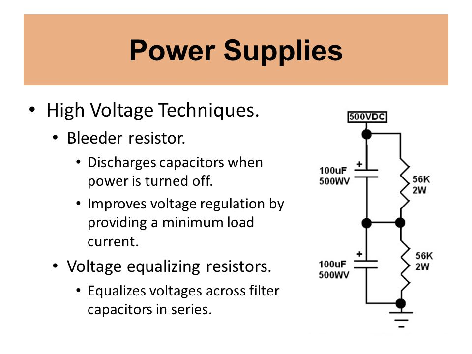 Power Supplies High Voltage Techniques. Bleeder resistor.