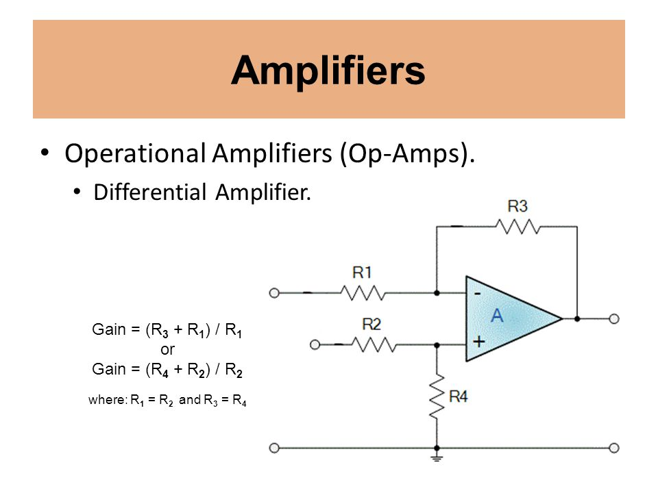 Amplifiers Operational Amplifiers (Op-Amps). Differential Amplifier.