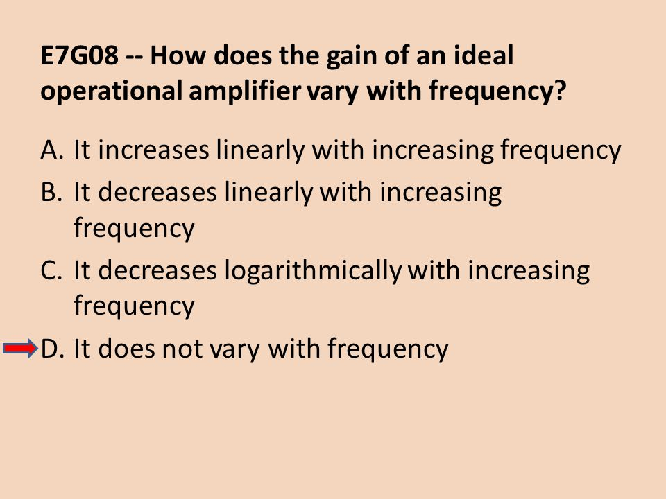 E7G08 -- How does the gain of an ideal operational amplifier vary with frequency