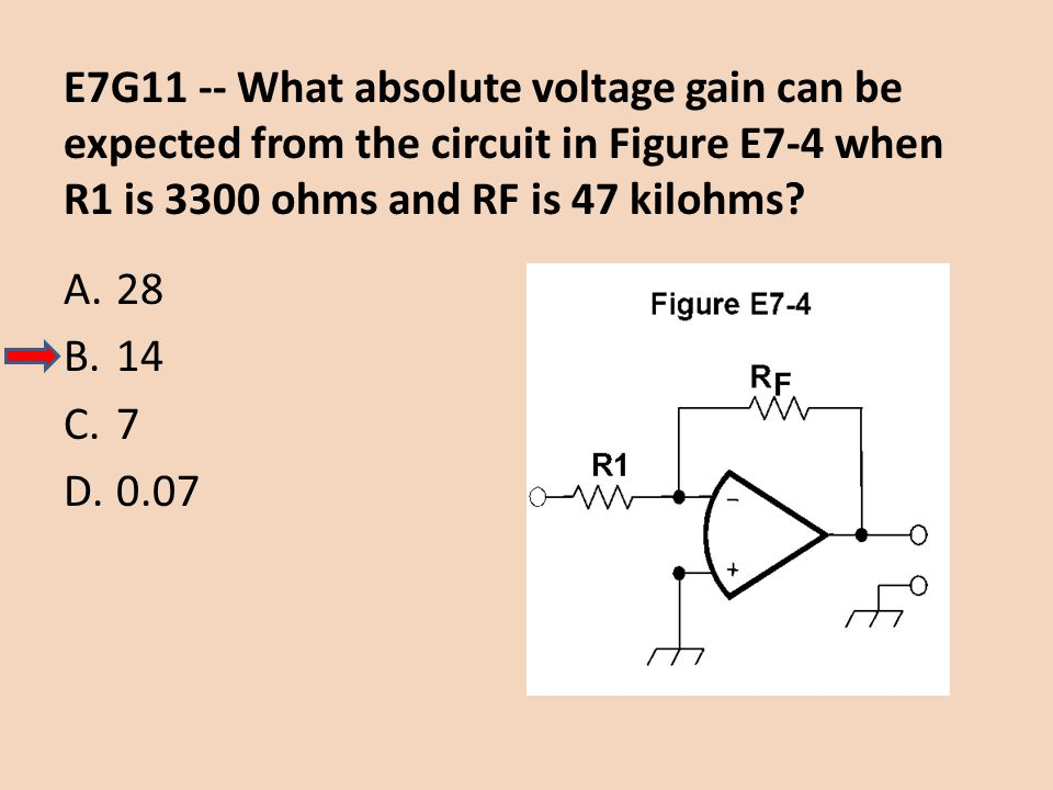 E7G11 -- What absolute voltage gain can be expected from the circuit in Figure E7-4 when R1 is 3300 ohms and RF is 47 kilohms
