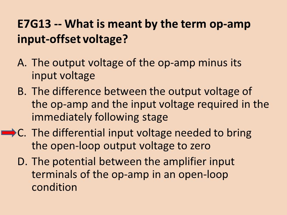 E7G13 -- What is meant by the term op-amp input-offset voltage