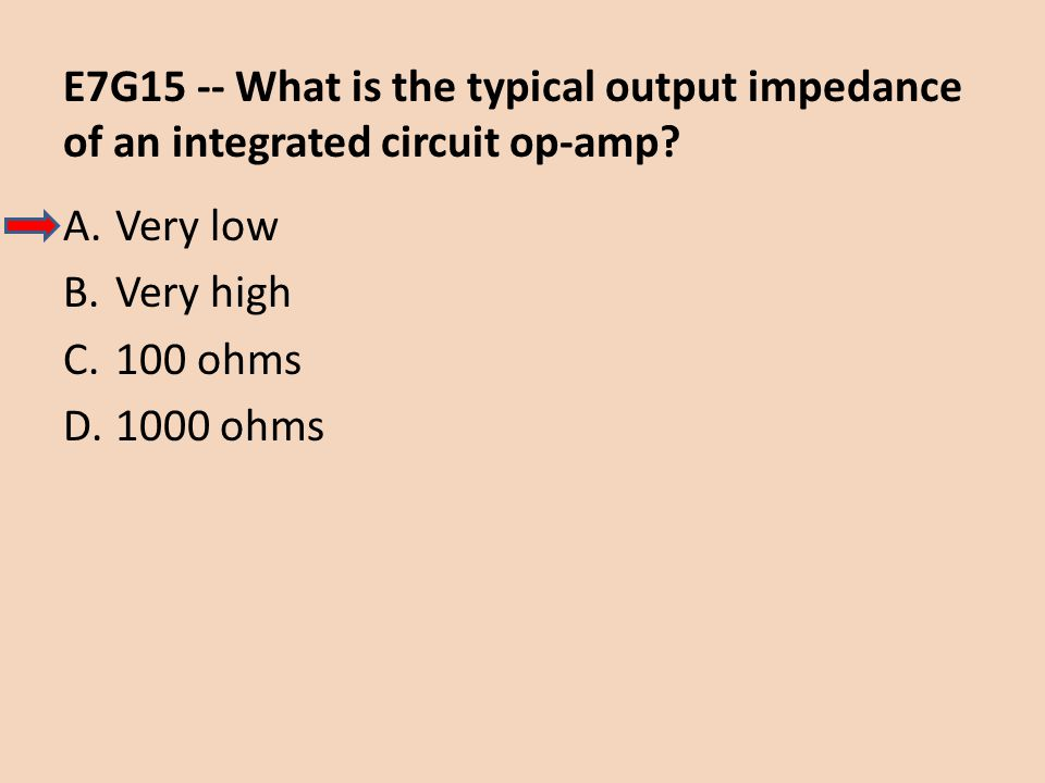 E7G15 -- What is the typical output impedance of an integrated circuit op-amp