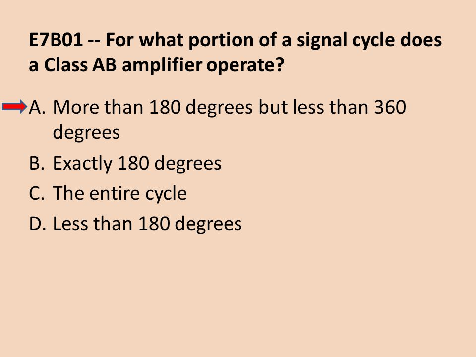 E7B01 -- For what portion of a signal cycle does a Class AB amplifier operate