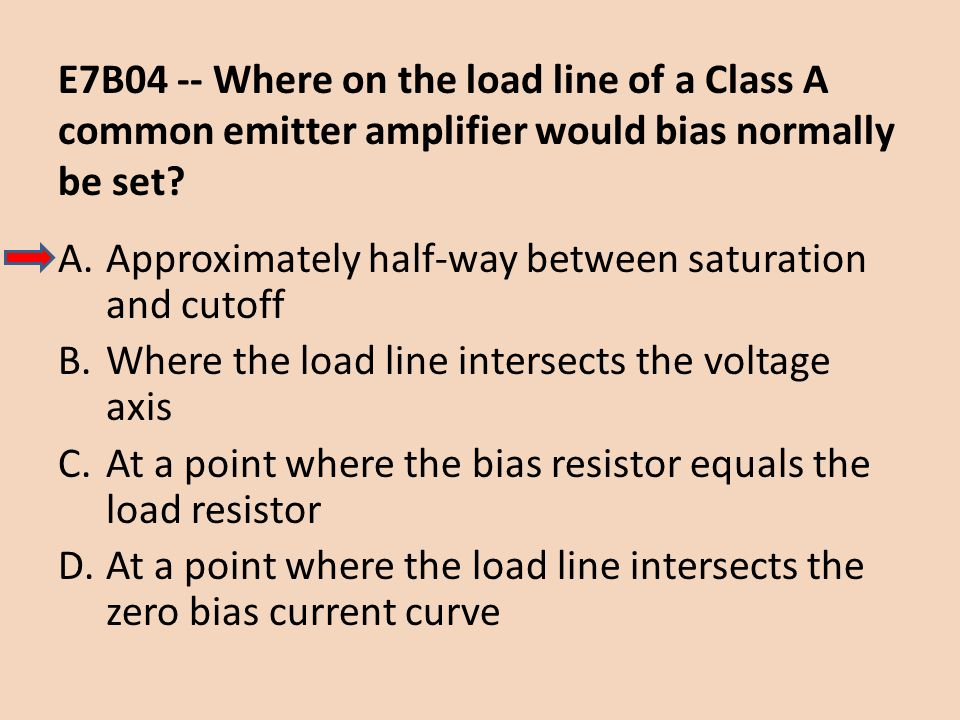 E7B04 -- Where on the load line of a Class A common emitter amplifier would bias normally be set