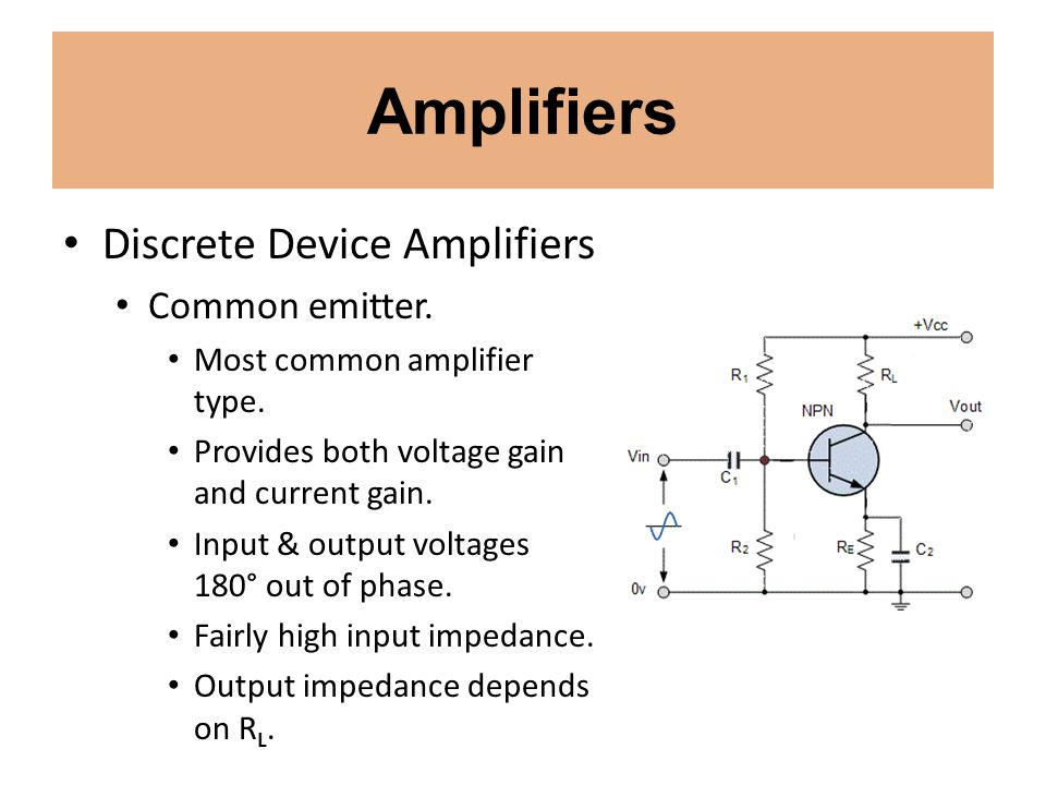 Amplifiers Discrete Device Amplifiers Common emitter.