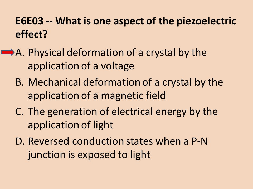 E6E03 -- What is one aspect of the piezoelectric effect