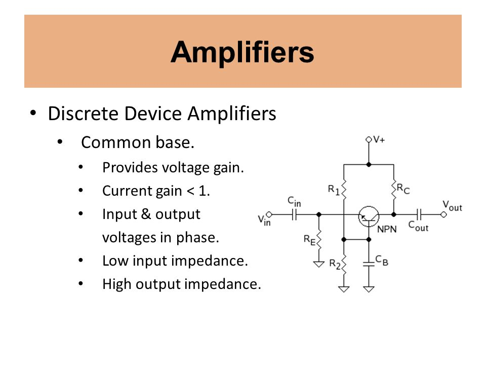 Amplifiers Discrete Device Amplifiers Common base.