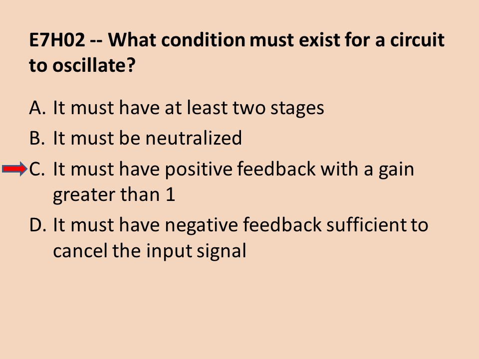E7H02 -- What condition must exist for a circuit to oscillate
