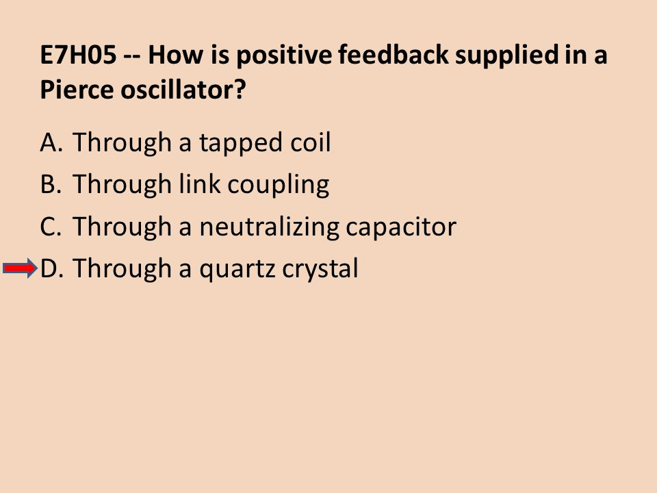 E7H05 -- How is positive feedback supplied in a Pierce oscillator