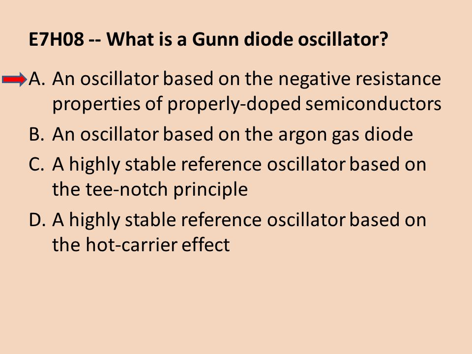 E7H08 -- What is a Gunn diode oscillator