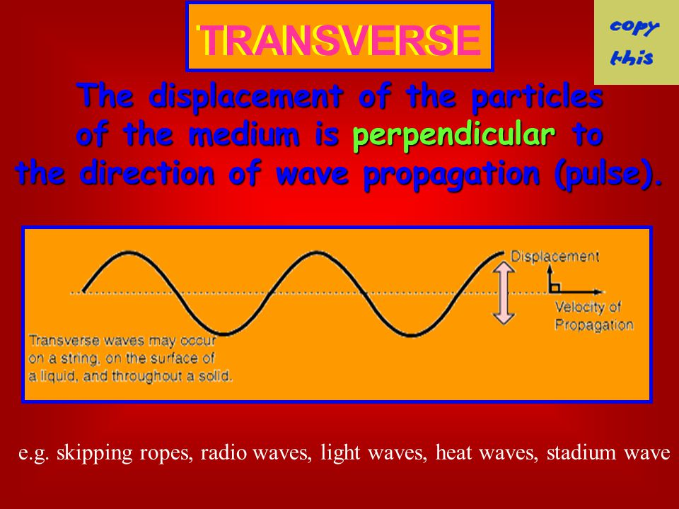 TRANSVERSE The displacement of the particles