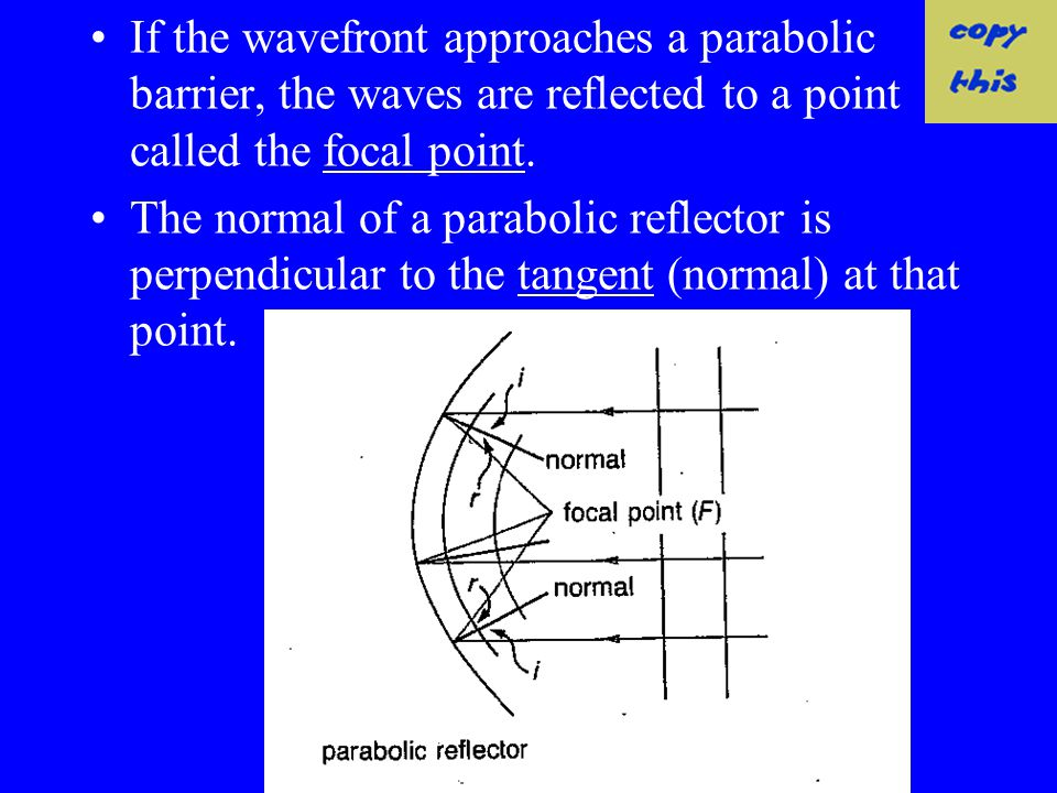 If the wavefront approaches a parabolic barrier, the waves are reflected to a point called the focal point.