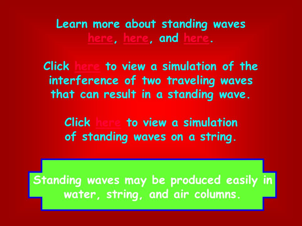 Learn more about standing waves here, here, and here.