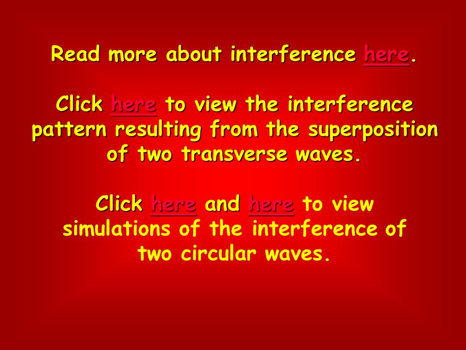 Read more about interference here. Click here to view the interference