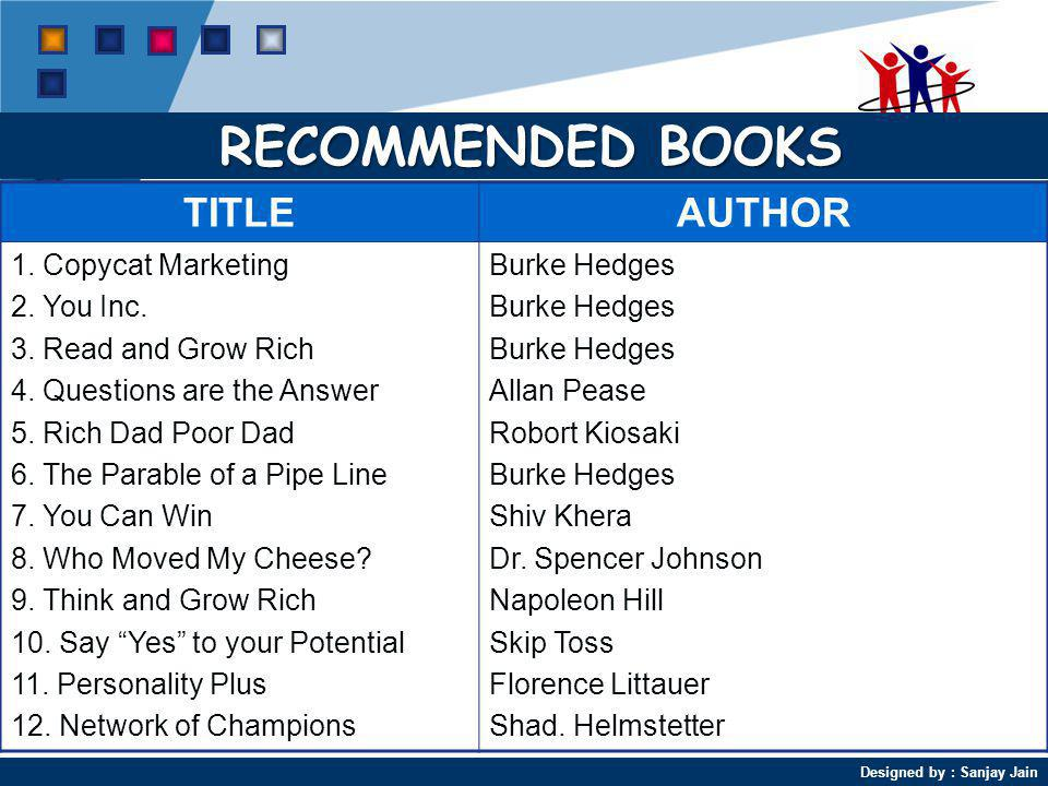 RECOMMENDED BOOKS TITLE AUTHOR 1. Copycat Marketing 2. You Inc.