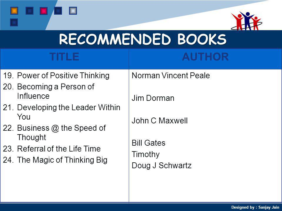 RECOMMENDED BOOKS TITLE AUTHOR Power of Positive Thinking