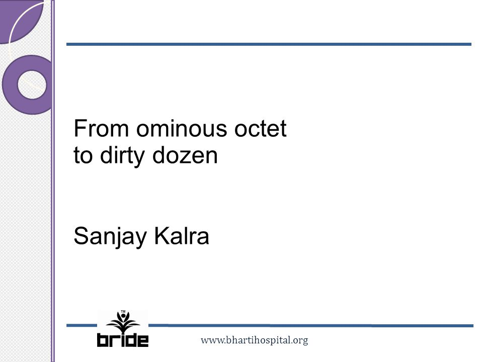From ominous octet to dirty dozen Sanjay Kalra