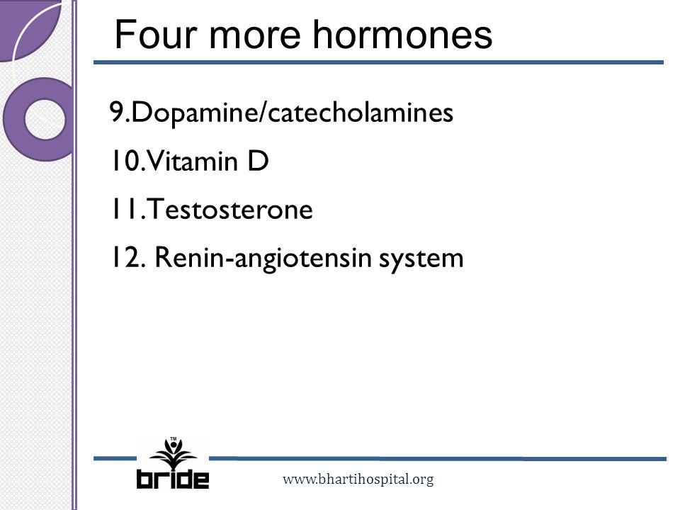 Four more hormones 9.Dopamine/catecholamines 10.Vitamin D 11.Testosterone 12.