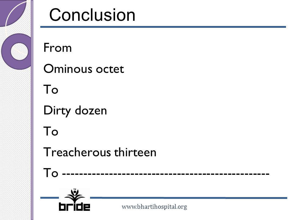 Conclusion From Ominous octet To Dirty dozen Treacherous thirteen To -------------------------------------------------