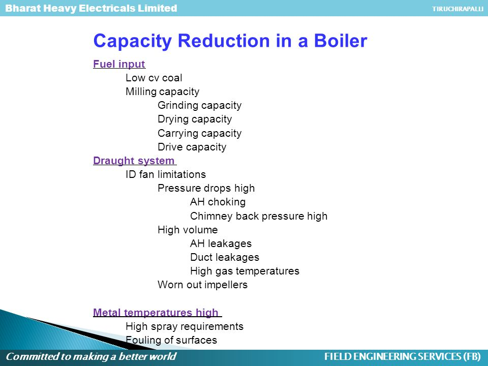 Capacity Reduction in a Boiler