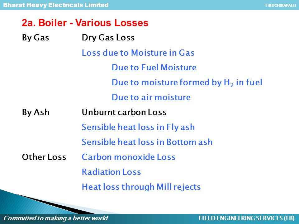 2a. Boiler - Various Losses