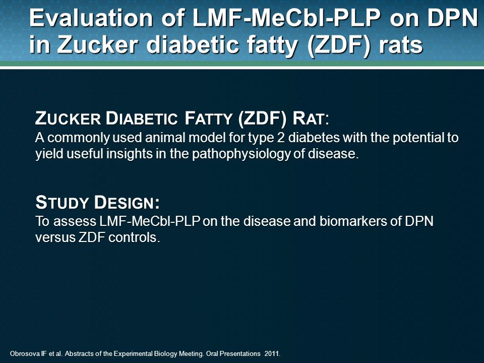 Evaluation of LMF-MeCbl-PLP on DPN in Zucker diabetic fatty (ZDF) rats