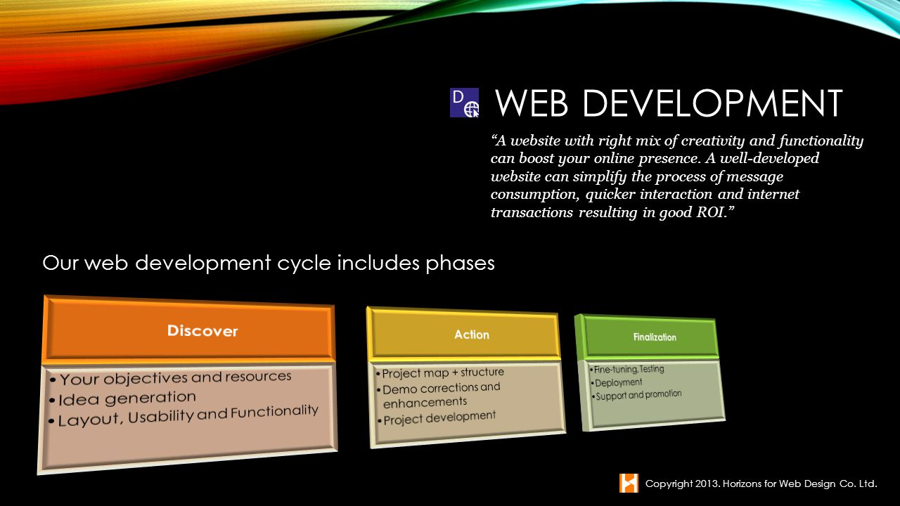 Web Development Our web development cycle includes phases