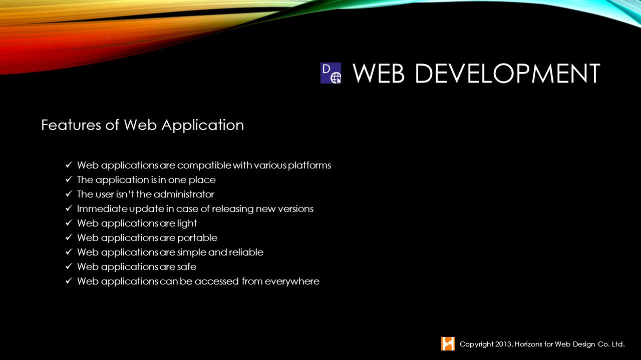 Web Development Features of Web Application