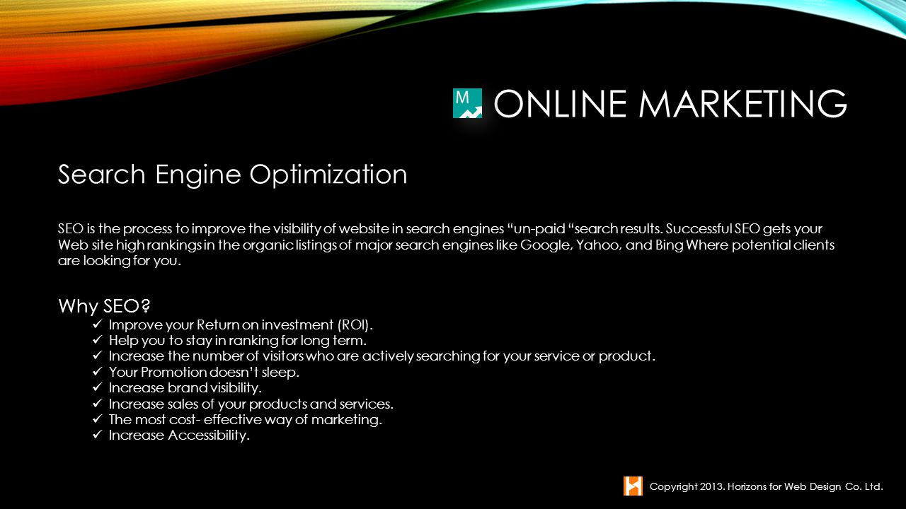 Online Marketing Search Engine Optimization Why SEO