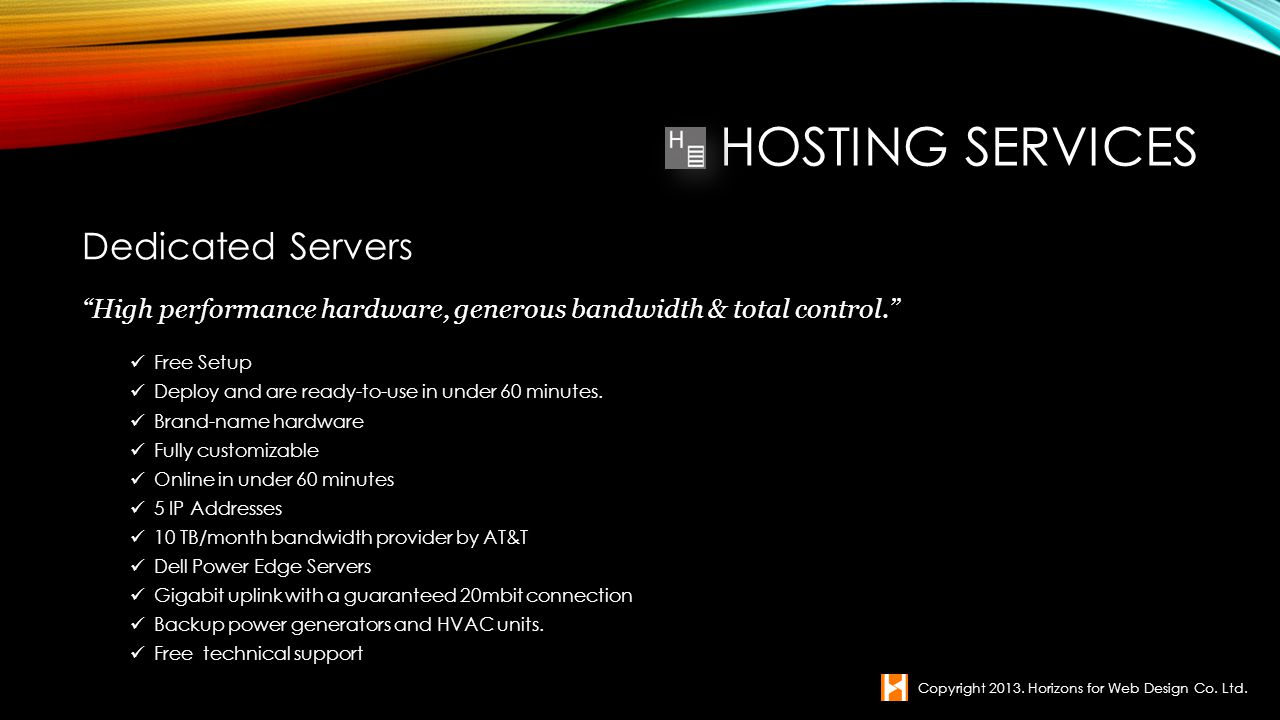 Hosting Services Dedicated Servers