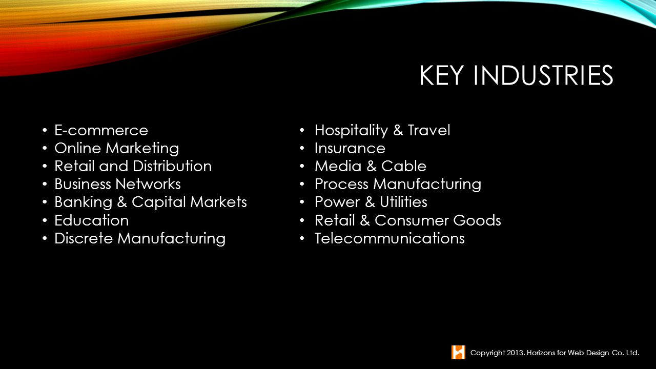 Key Industries E-commerce Online Marketing Retail and Distribution