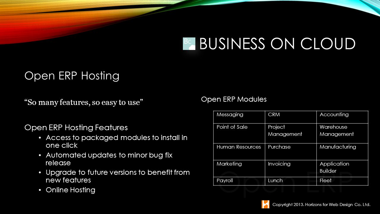 Open ERP Business on Cloud Open ERP Hosting