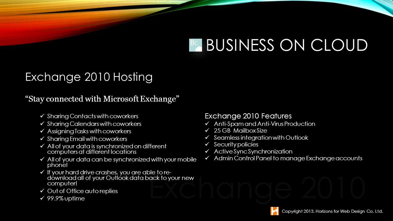 Exchange 2010 Business on Cloud Exchange 2010 Hosting