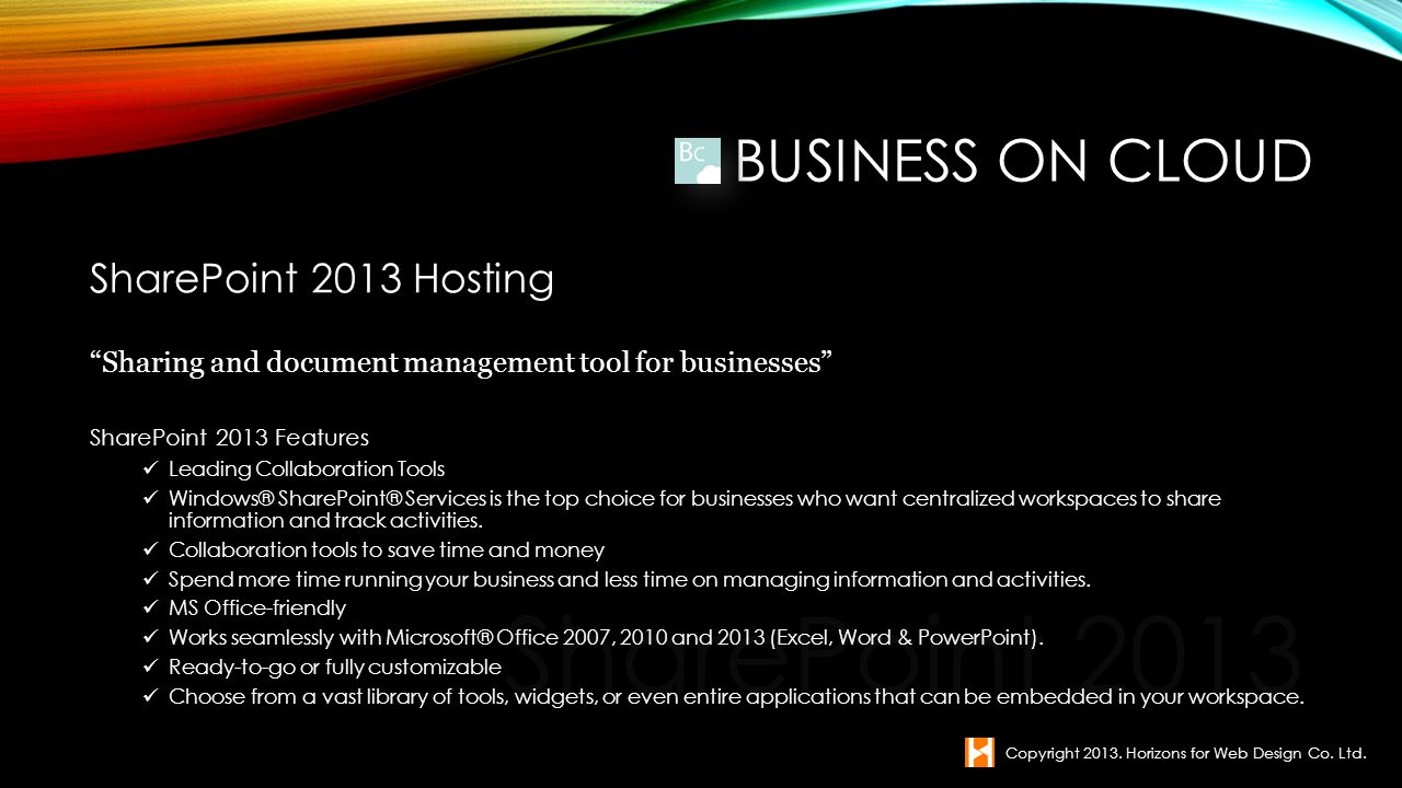 SharePoint 2013 Business on Cloud SharePoint 2013 Hosting