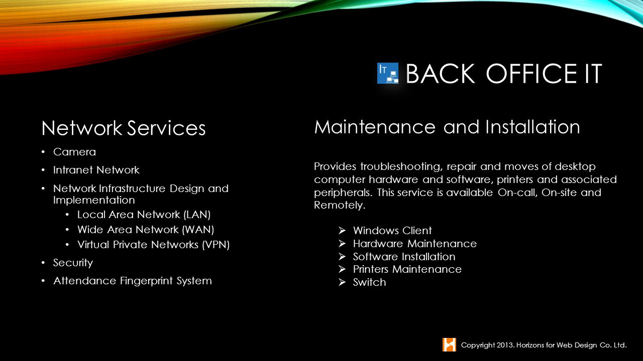 Back office IT Network Services Maintenance and Installation