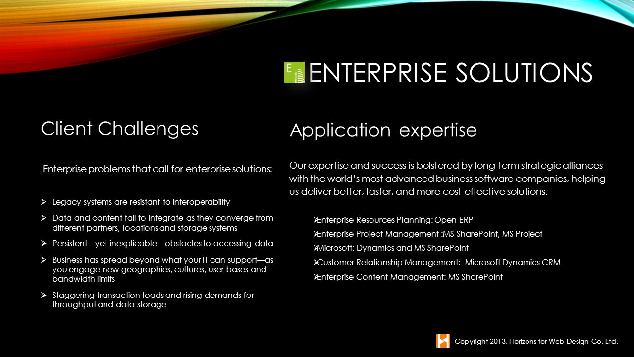 Enterprise Solutions Client Challenges Application expertise
