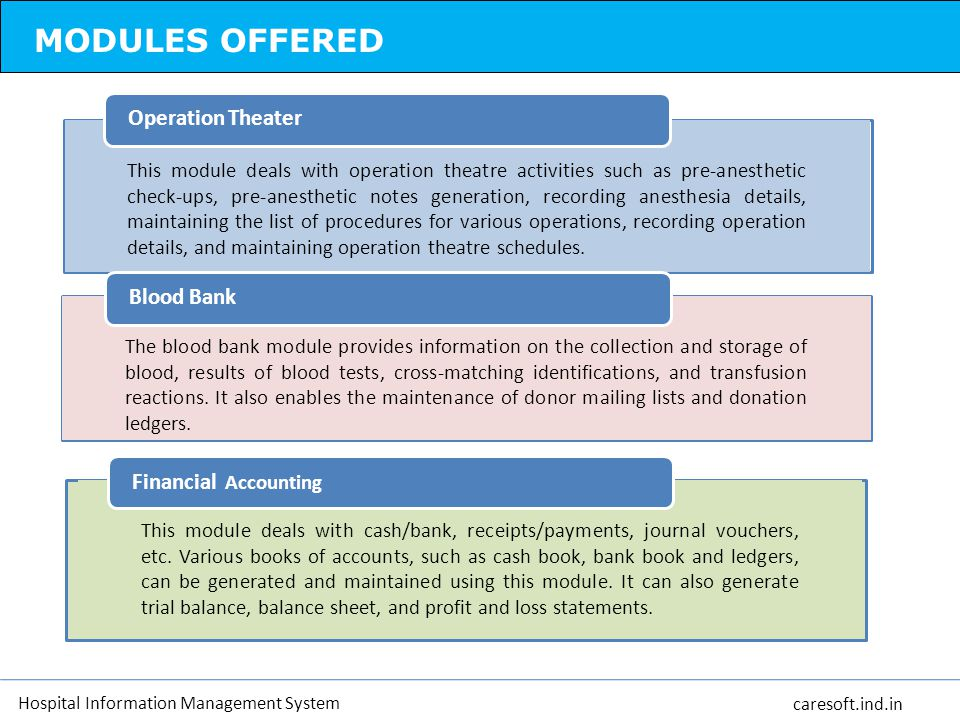 MODULES OFFERED Operation Theater Blood Bank Financial Accounting
