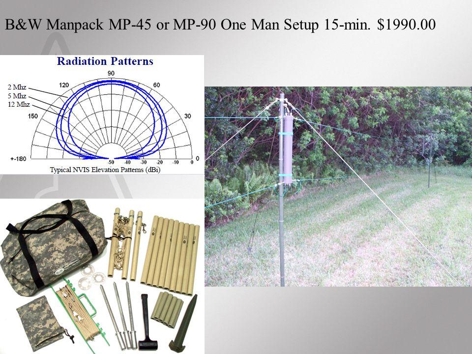 B&W Manpack MP-45 or MP-90 One Man Setup 15-min. $1990.00