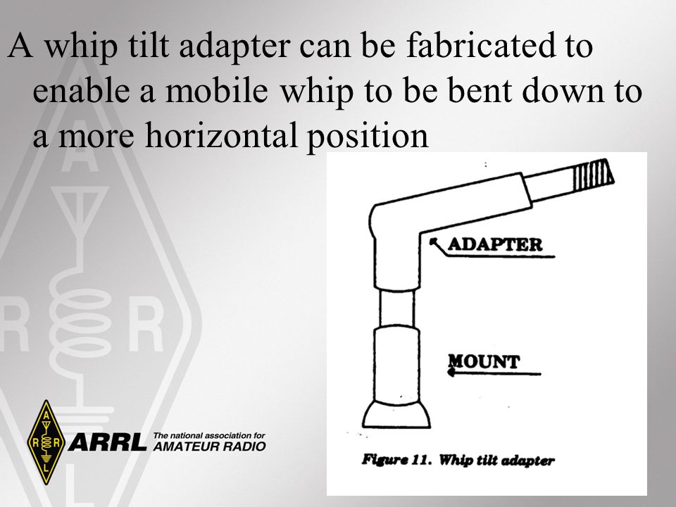 A whip tilt adapter can be fabricated to enable a mobile whip to be bent down to a more horizontal position