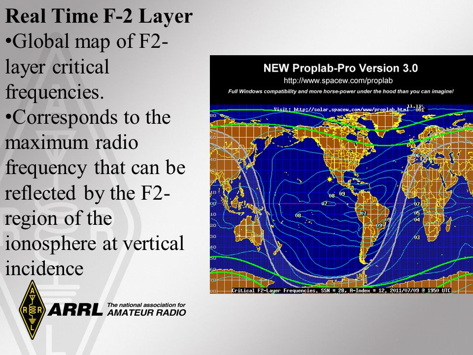 Real Time F-2 Layer Global map of F2-layer critical frequencies.