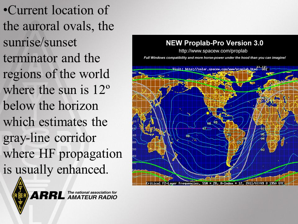 Current location of the auroral ovals, the sunrise/sunset terminator and the regions of the world where the sun is 12º below the horizon which estimates the gray-line corridor where HF propagation is usually enhanced.
