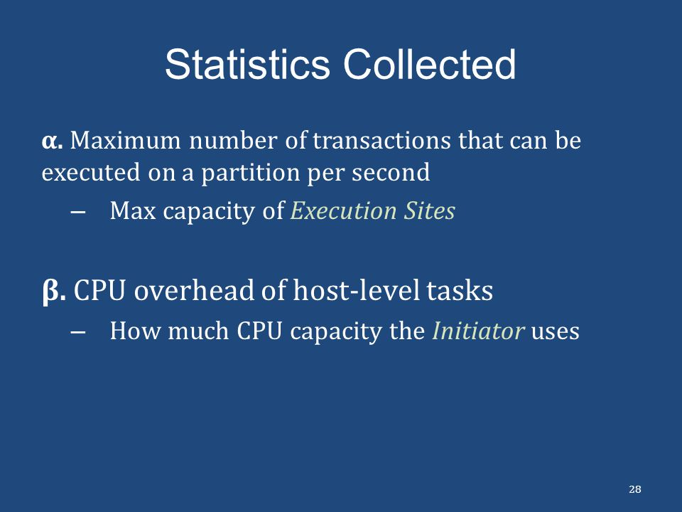Statistics Collected β. CPU overhead of host-level tasks