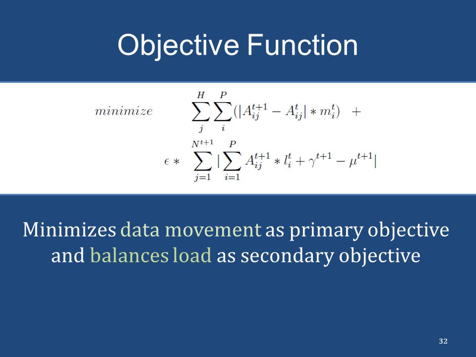 Objective Function Minimizes data movement as primary objective and balances load as secondary objective.